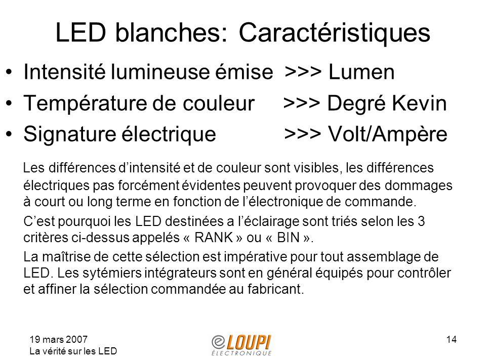19 mars 2007 La vérité sur les LED 14 LED blanches: Caractéristiques Intensité lumineuse émise >>> Lumen Température de couleur >>> Degré Kevin Signature électrique >>> Volt/Ampère Les différences dintensité et de couleur sont visibles, les différences électriques pas forcément évidentes peuvent provoquer des dommages à court ou long terme en fonction de lélectronique de commande.