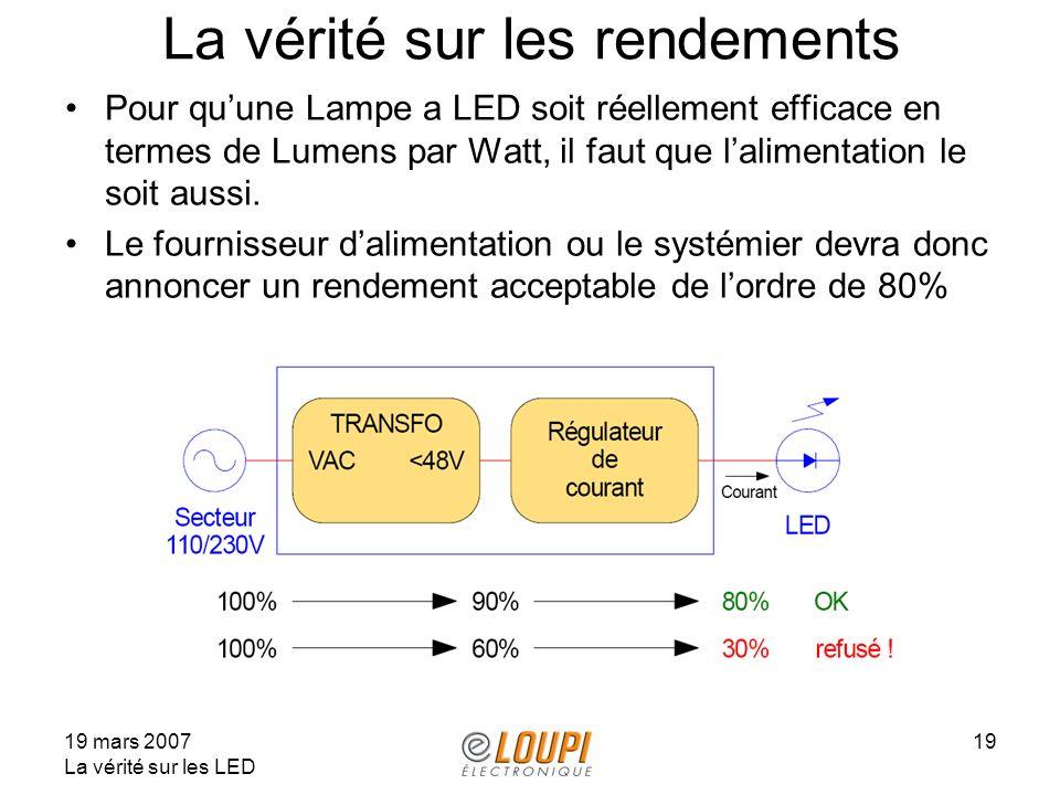 19 mars 2007 La vérité sur les LED 19 La vérité sur les rendements Pour quune Lampe a LED soit réellement efficace en termes de Lumens par Watt, il faut que lalimentation le soit aussi.