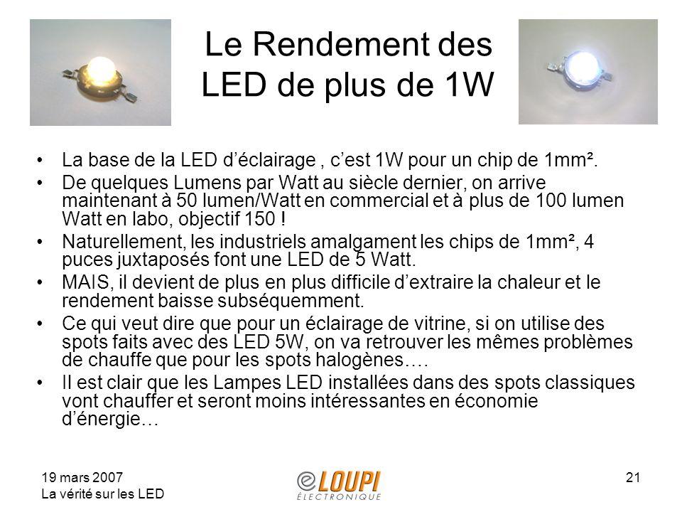 19 mars 2007 La vérité sur les LED 21 Le Rendement des LED de plus de 1W La base de la LED déclairage, cest 1W pour un chip de 1mm². De quelques Lumen