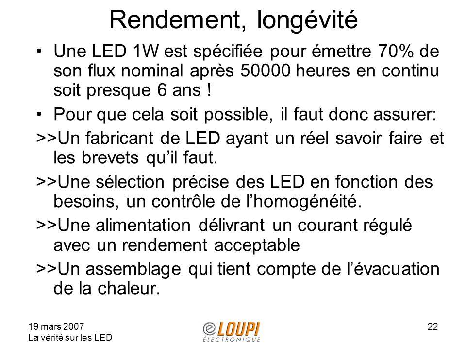 19 mars 2007 La vérité sur les LED 22 Rendement, longévité Une LED 1W est spécifiée pour émettre 70% de son flux nominal après 50000 heures en continu soit presque 6 ans .