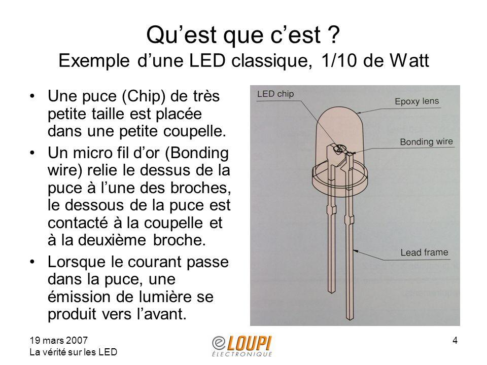 19 mars 2007 La vérité sur les LED 4 Quest que cest ? Exemple dune LED classique, 1/10 de Watt Une puce (Chip) de très petite taille est placée dans u