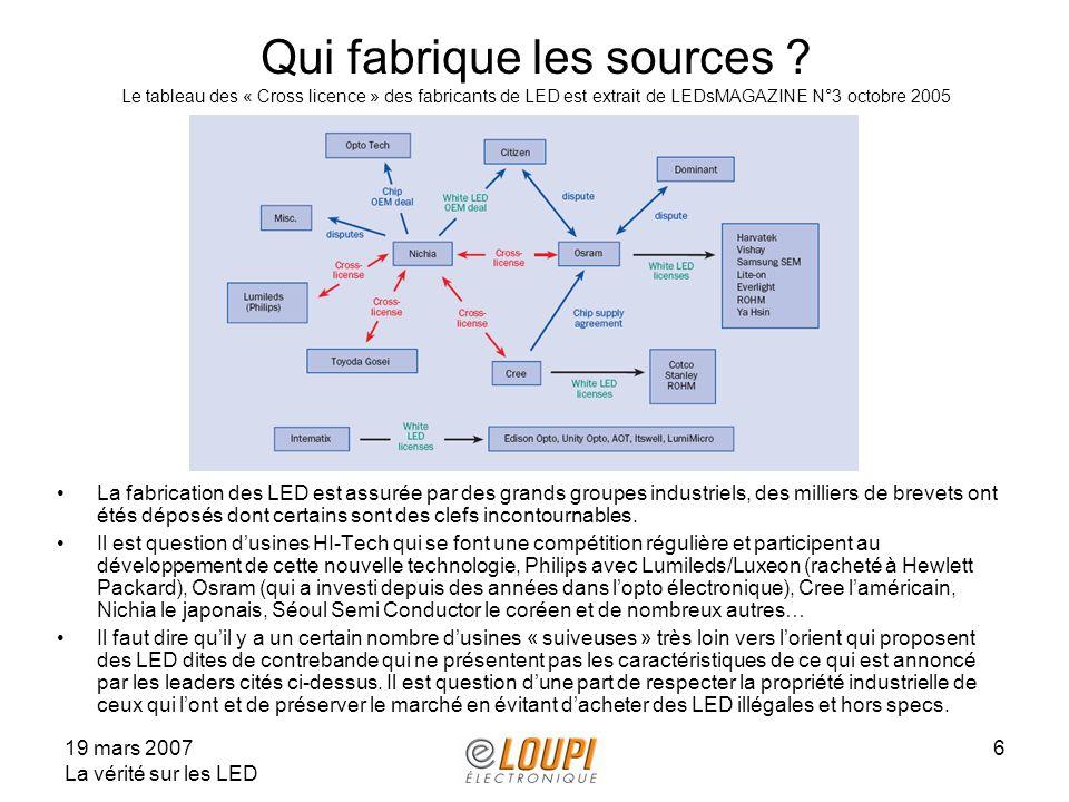 19 mars 2007 La vérité sur les LED 6 Qui fabrique les sources ? Le tableau des « Cross licence » des fabricants de LED est extrait de LEDsMAGAZINE N°3