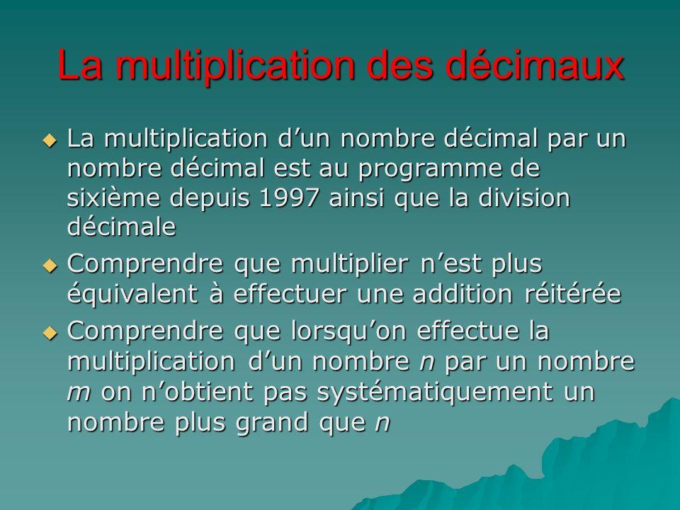 La multiplication dun nombre décimal par un nombre décimal est au programme de sixième depuis 1997 ainsi que la division décimale La multiplication du