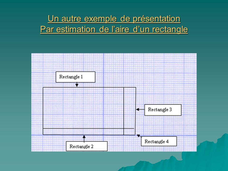 Un autre exemple de présentation Par estimation de laire dun rectangle Un autre exemple de présentation Par estimation de laire dun rectangle