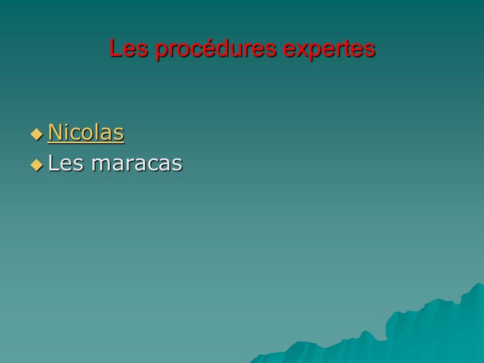Les procédures expertes Nicolas Nicolas Nicolas Les maracas Les maracas