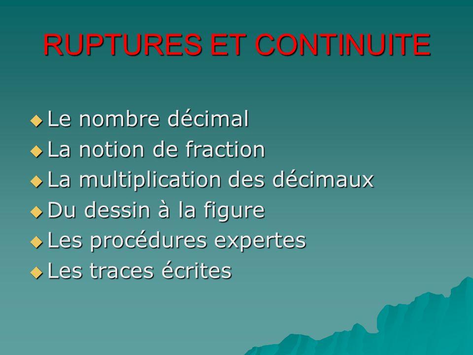 RUPTURES ET CONTINUITE Le nombre décimal Le nombre décimal La notion de fraction La notion de fraction La multiplication des décimaux La multiplicatio