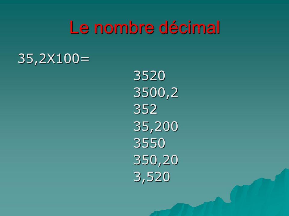 Le nombre décimal 35,2X100=35203500,235235,2003550350,203,520