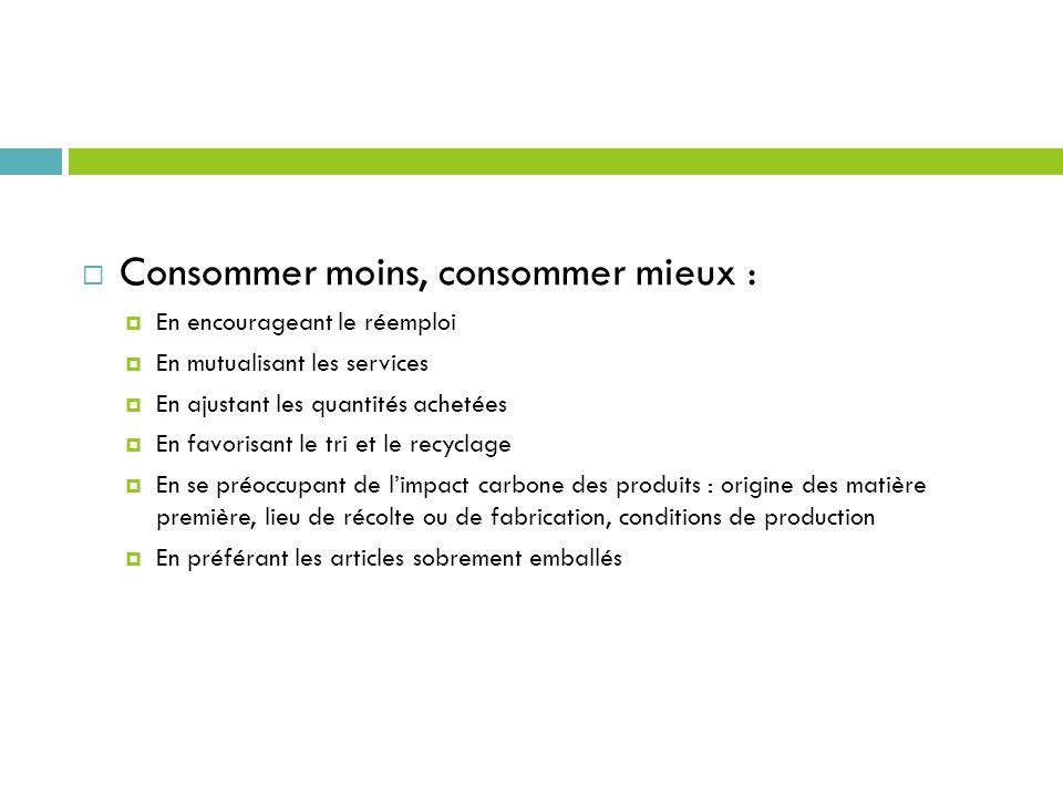 Consommer moins, consommer mieux : En encourageant le réemploi En mutualisant les services En ajustant les quantités achetées En favorisant le tri et
