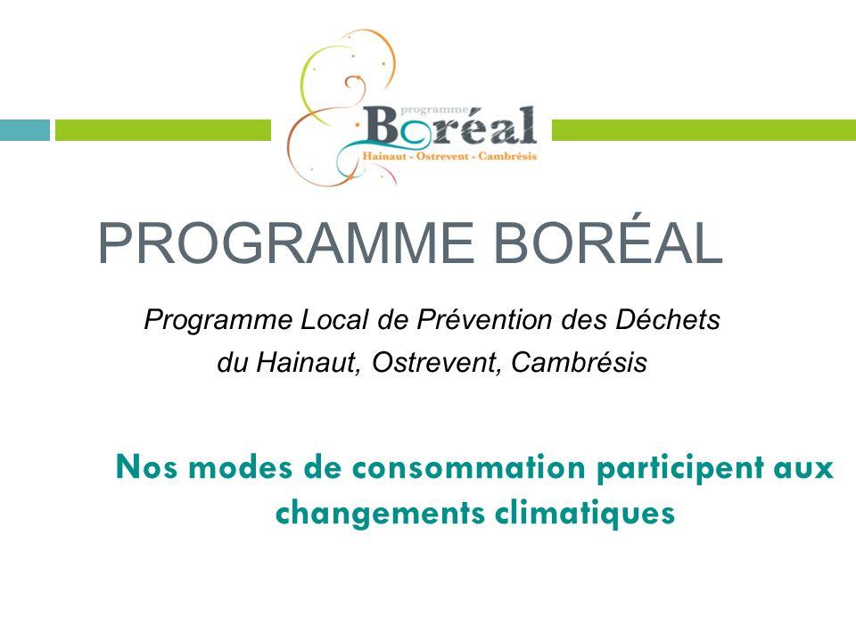 PROGRAMME BORÉAL Programme Local de Prévention des Déchets du Hainaut, Ostrevent, Cambrésis Nos modes de consommation participent aux changements clim