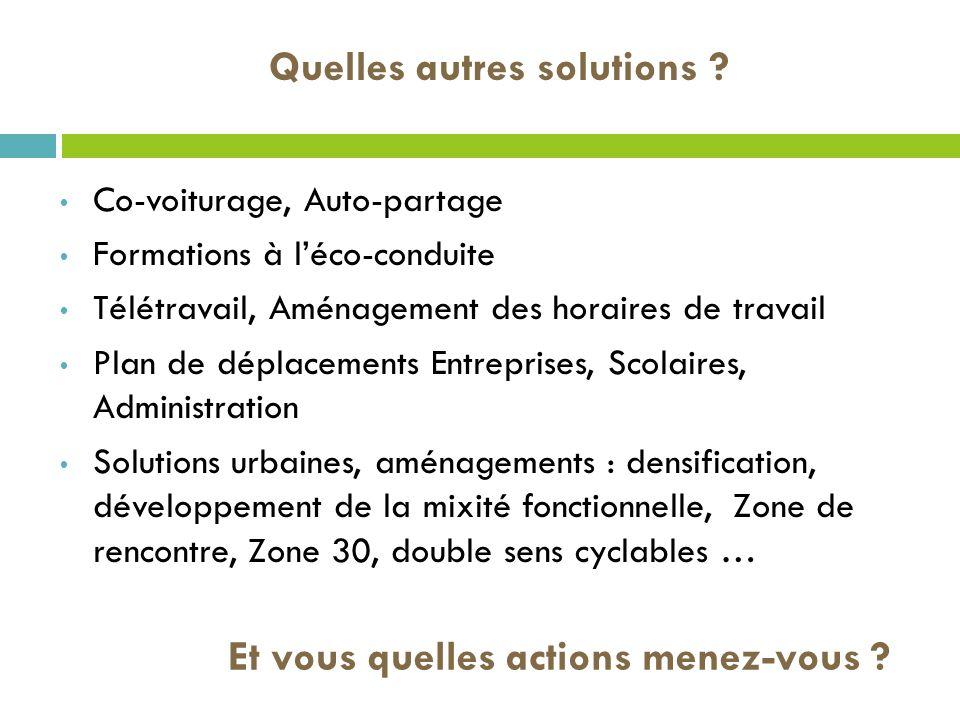 Quelles autres solutions ? Co-voiturage, Auto-partage Formations à léco-conduite Télétravail, Aménagement des horaires de travail Plan de déplacements