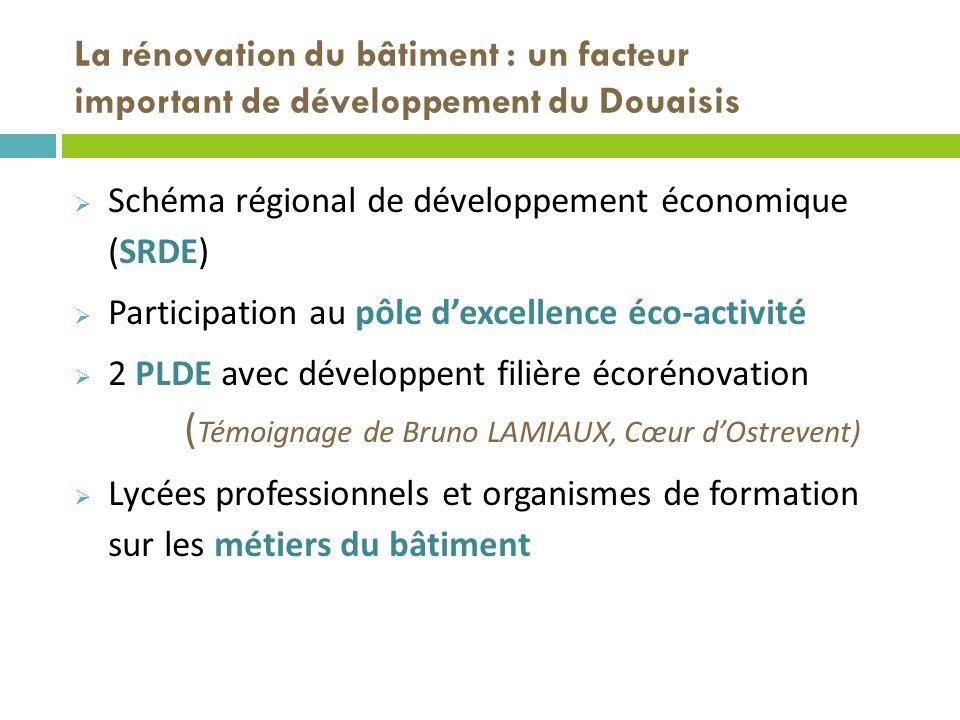 La rénovation du bâtiment : un facteur important de développement du Douaisis Schéma régional de développement économique (SRDE) Participation au pôle