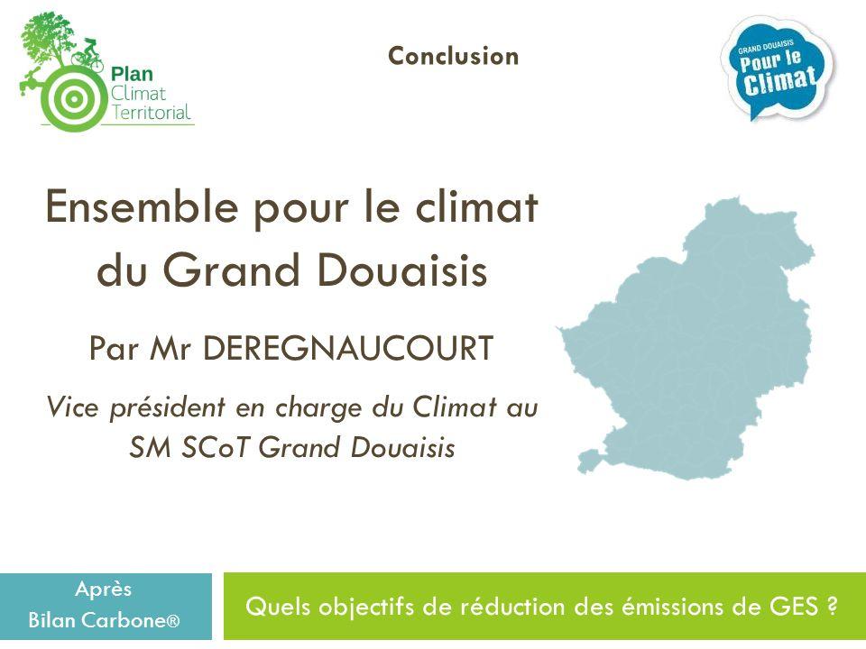 Quels objectifs de réduction des émissions de GES ? Ensemble pour le climat du Grand Douaisis Par Mr DEREGNAUCOURT Vice président en charge du Climat