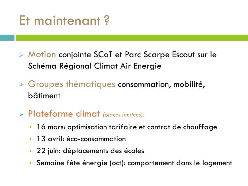 Motion conjointe SCoT et Parc Scarpe Escaut sur le Schéma Régional Climat Air Energie Groupes thématiques consommation, mobilité, bâtiment Plateforme