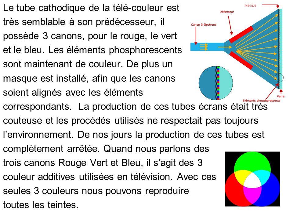 Le tube cathodique de la télé-couleur est très semblable à son prédécesseur, il possède 3 canons, pour le rouge, le vert et le bleu. Les éléments phos