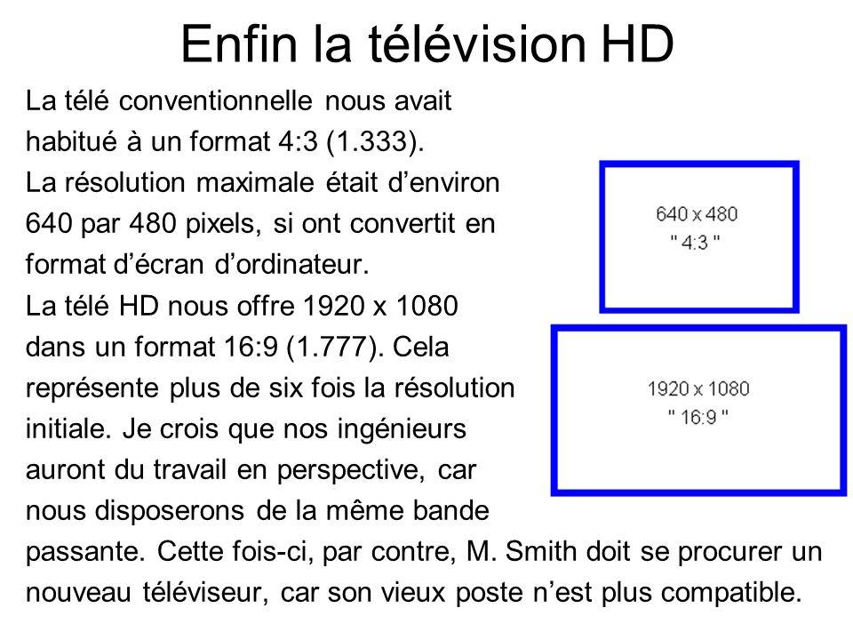 Enfin la télévision HD La télé conventionnelle nous avait habitué à un format 4:3 (1.333). La résolution maximale était denviron 640 par 480 pixels, s