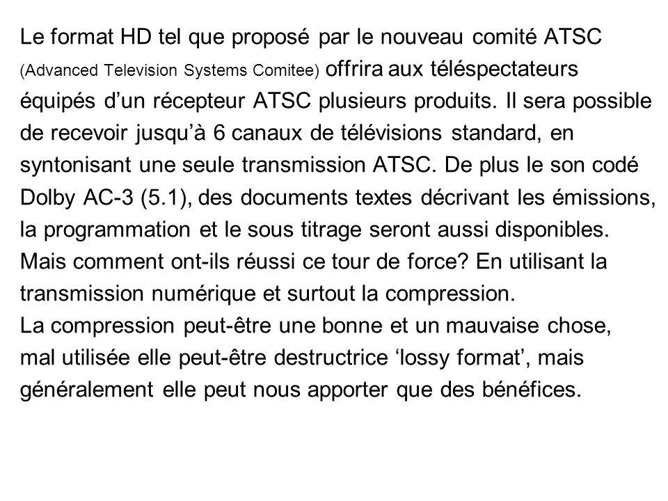 Le format HD tel que proposé par le nouveau comité ATSC (Advanced Television Systems Comitee) offrira aux téléspectateurs équipés dun récepteur ATSC plusieurs produits.