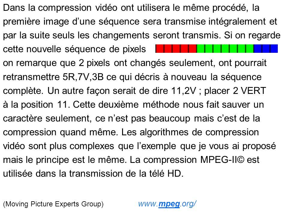 Dans la compression vidéo ont utilisera le même procédé, la première image dune séquence sera transmise intégralement et par la suite seuls les changements seront transmis.