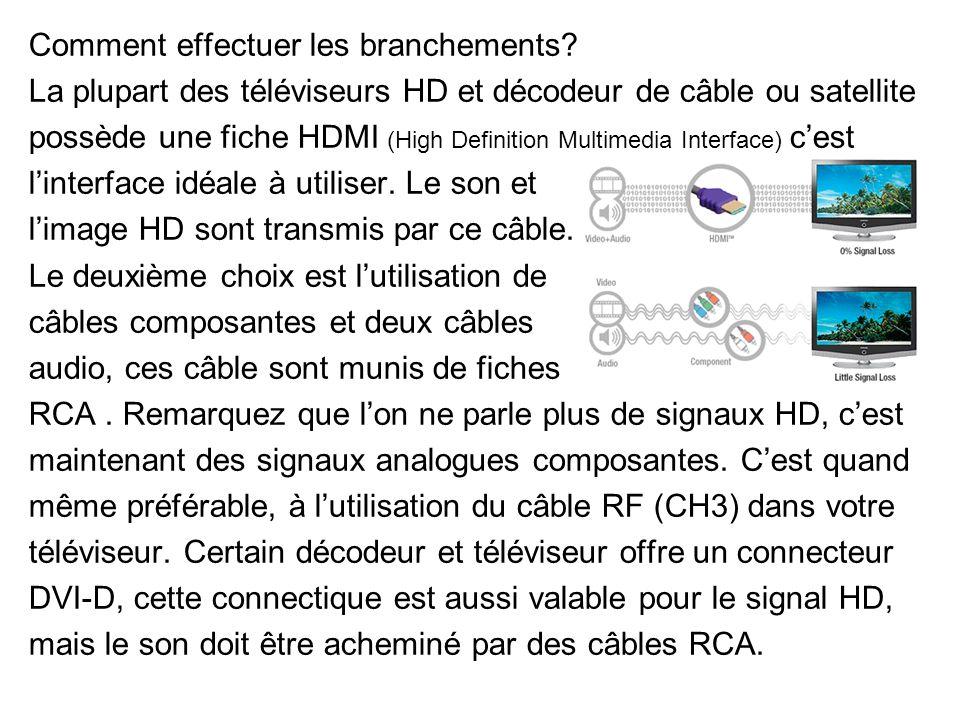 Comment effectuer les branchements? La plupart des téléviseurs HD et décodeur de câble ou satellite possède une fiche HDMI (High Definition Multimedia