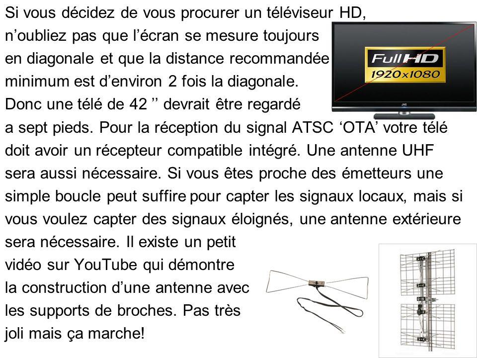 Si vous décidez de vous procurer un téléviseur HD, noubliez pas que lécran se mesure toujours en diagonale et que la distance recommandée minimum est denviron 2 fois la diagonale.
