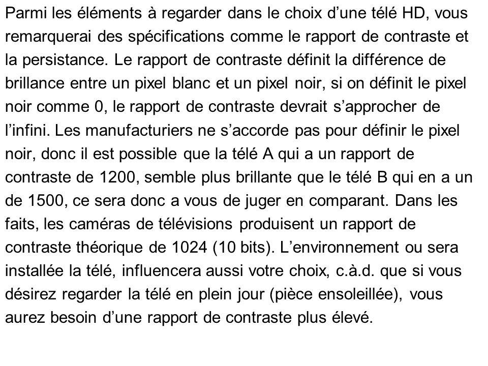 Parmi les éléments à regarder dans le choix dune télé HD, vous remarquerai des spécifications comme le rapport de contraste et la persistance. Le rapp