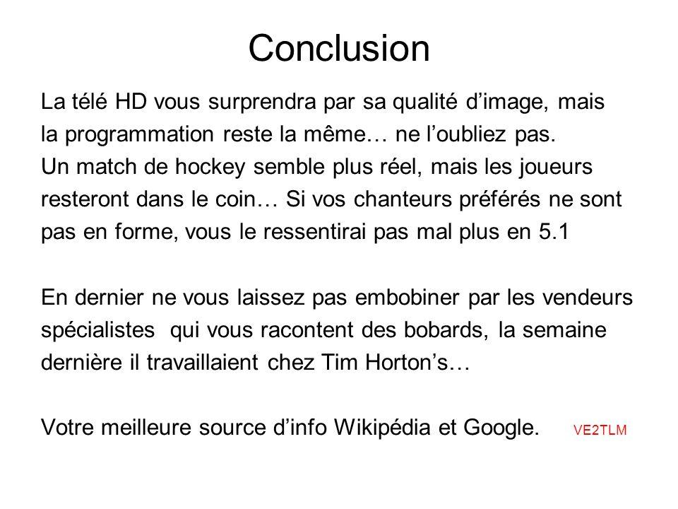 Conclusion La télé HD vous surprendra par sa qualité dimage, mais la programmation reste la même… ne loubliez pas.