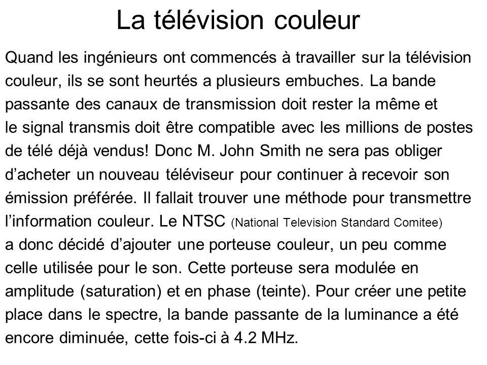 La télévision couleur Quand les ingénieurs ont commencés à travailler sur la télévision couleur, ils se sont heurtés a plusieurs embuches. La bande pa