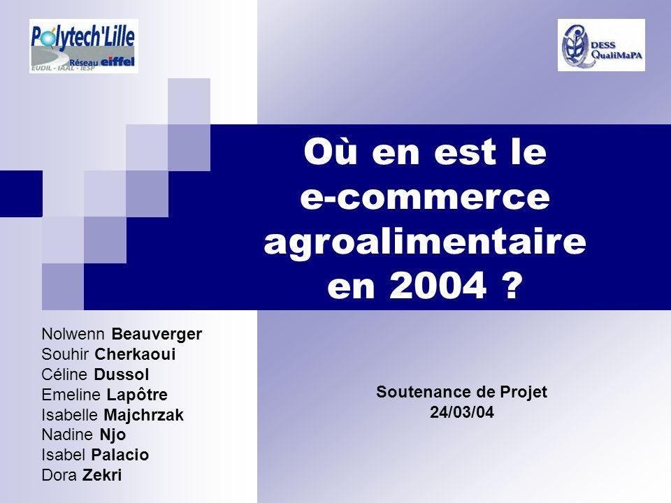 Où en est le e-commerce agroalimentaire en 2004 ? Soutenance de Projet 24/03/04 Nolwenn Beauverger Souhir Cherkaoui Céline Dussol Emeline Lapôtre Isab