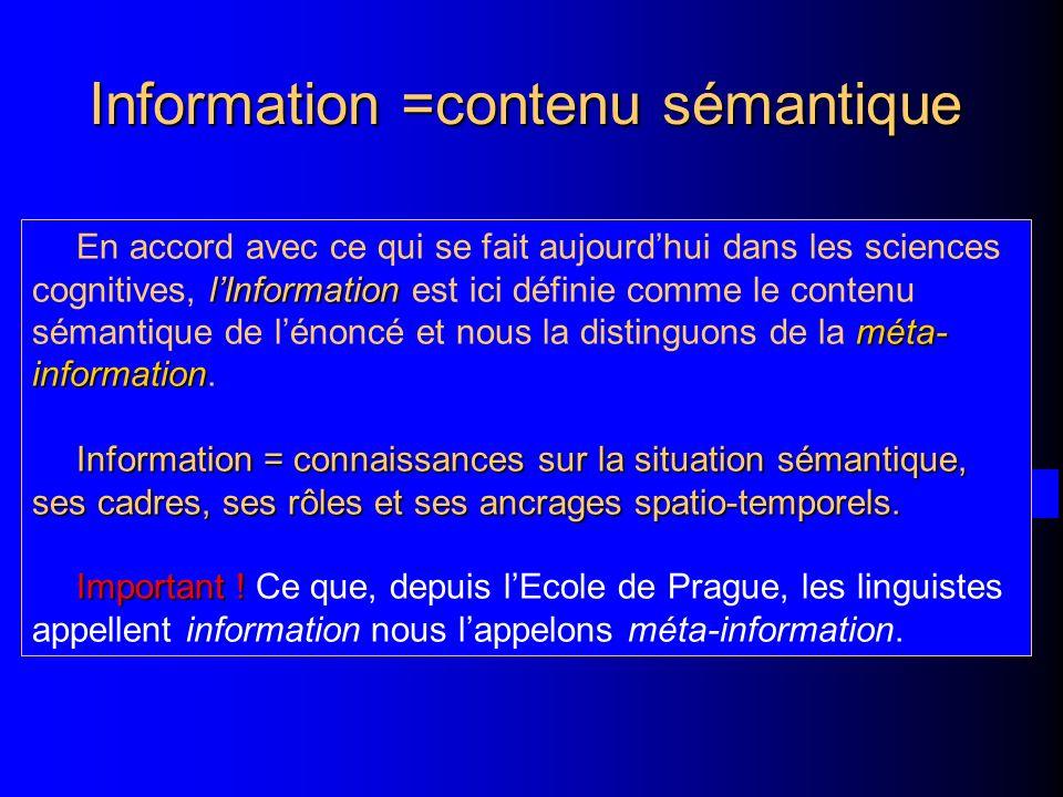 Information =contenu sémantique lInformation méta- information En accord avec ce qui se fait aujourdhui dans les sciences cognitives, lInformation est ici définie comme le contenu sémantique de lénoncé et nous la distinguons de la méta- information.