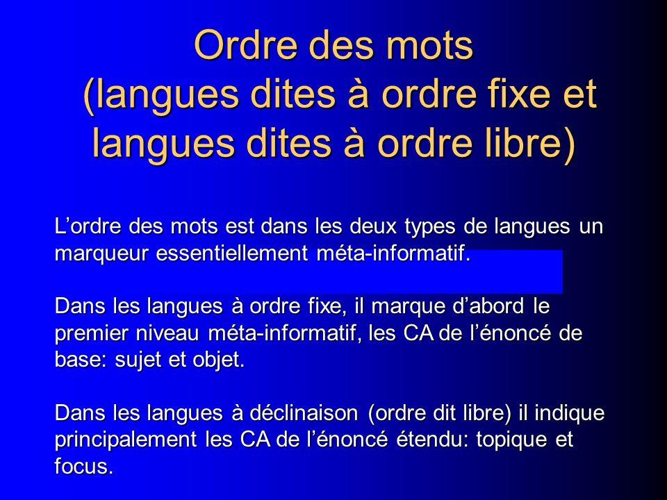 Ordre des mots (langues dites à ordre fixe et langues dites à ordre libre) Lordre des mots est dans les deux types de langues un marqueur essentiellem