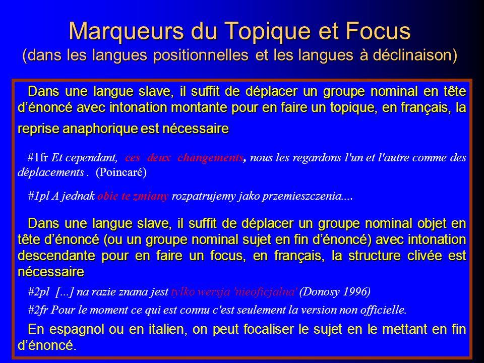 Marqueurs du Topique et Focus (dans les langues positionnelles et les langues à déclinaison) Dans une langue slave, il suffit de déplacer un groupe no