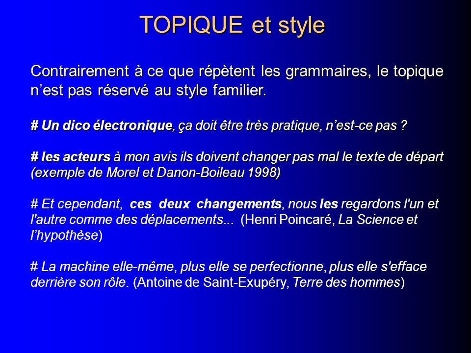 TOPIQUE et style Contrairement à ce que répètent les grammaires, le topique nest pas réservé au style familier. # Un dico électronique, ça doit être t