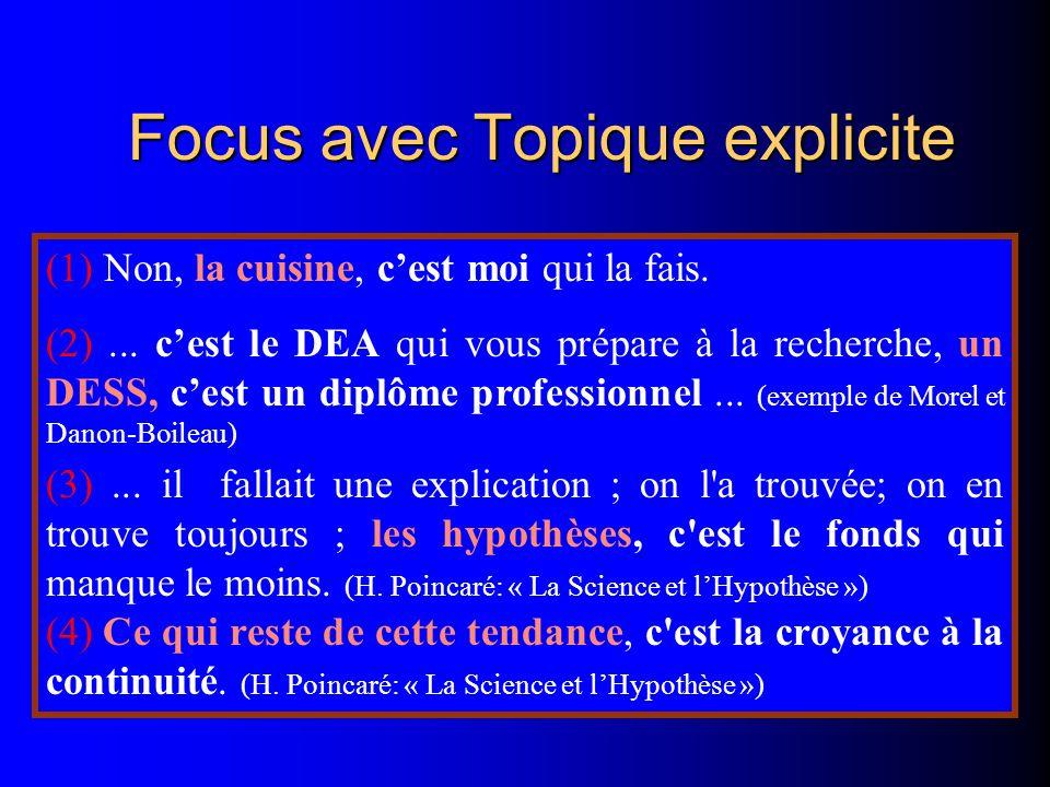 Focus avec Topique explicite (1) Non, la cuisine, cest moi qui la fais. (2)... cest le DEA qui vous prépare à la recherche, un DESS, cest un diplôme p