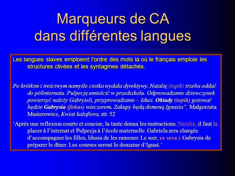 Marqueurs de CA dans différentes langues Les langues slaves emploient lordre des mots là où le français emploie les structures clivées et les syntagmes détachés.