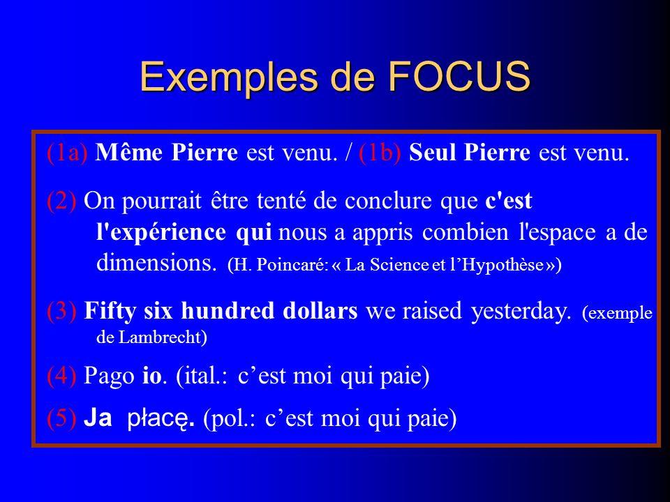Exemples de FOCUS (1a) Même Pierre est venu. / (1b) Seul Pierre est venu. (2) On pourrait être tenté de conclure que c'est l'expérience qui nous a app