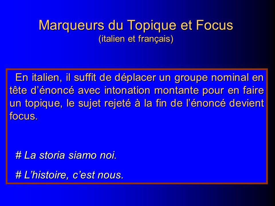 Marqueurs du Topique et Focus (italien et français) En italien, il suffit de déplacer un groupe nominal en tête dénoncé avec intonation montante pour en faire un topique, le sujet rejeté à la fin de lénoncé devient focus.