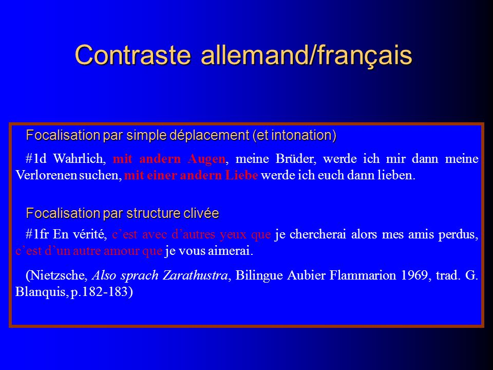 Contraste allemand/français Focalisation par simple déplacement (et intonation) #1d Wahrlich, mit andern Augen, meine Brüder, werde ich mir dann meine