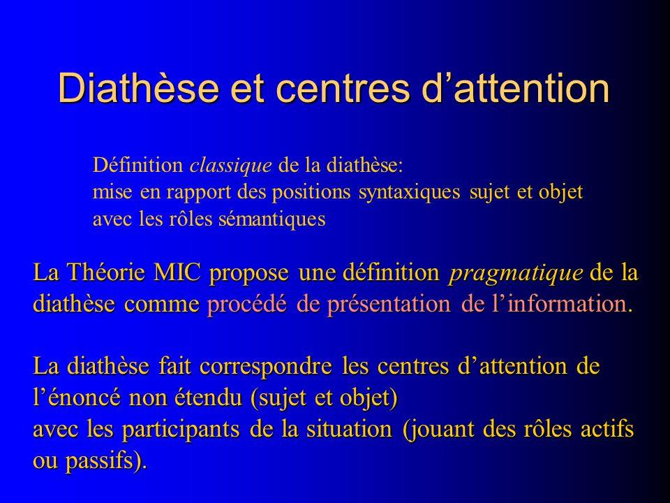 Diathèse et centres dattention La Théorie MIC propose une définition pragmatique de la diathèse comme procédé de présentation de linformation. La diat