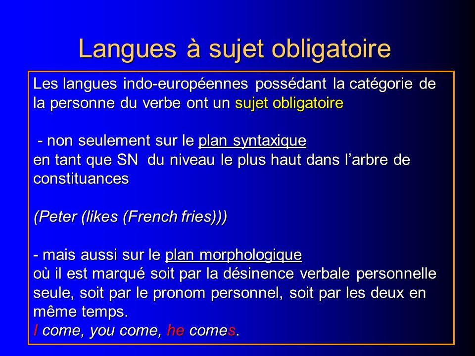 Langues à sujet obligatoire Les langues indo-européennes possédant la catégorie de la personne du verbe ont un sujet obligatoire - non seulement sur le plan syntaxique - non seulement sur le plan syntaxique en tant que SN du niveau le plus haut dans larbre de constituances (Peter (likes (French fries))) - mais aussi sur le plan morphologique où il est marqué soit par la désinence verbale personnelle seule, soit par le pronom personnel, soit par les deux en même temps.