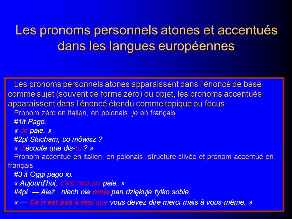 Les pronoms personnels atones et accentués dans les langues européennes Les pronoms personnels atones apparaissent dans lénoncé de base comme sujet (souvent de forme zéro) ou objet, les pronoms accentués apparaissent dans lénoncé étendu comme topique ou focus.