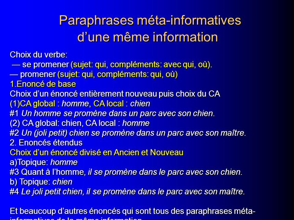Paraphrases méta-informatives dune même information Paraphrases méta-informatives dune même information Choix du verbe: se promener (sujet: qui, compléments: avec qui, où).