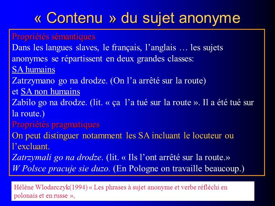 « Contenu » du sujet anonyme Propriétés sémantiques Dans les langues slaves, le français, langlais … les sujets anonymes se répartissent en deux grandes classes: SA humains Zatrzymano go na drodze.