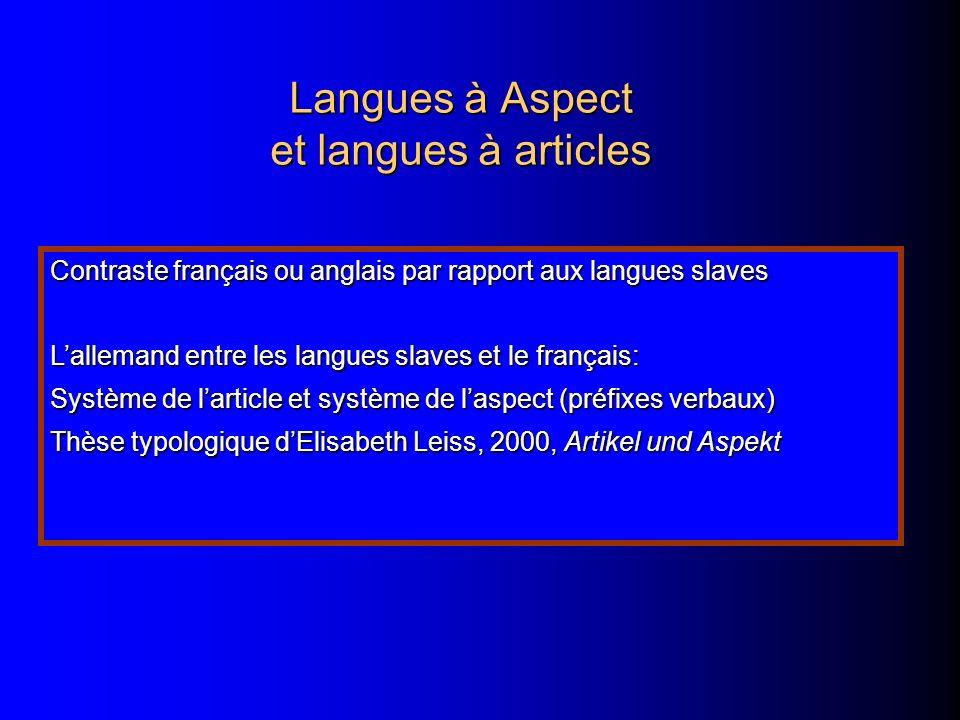 Langues à Aspect et langues à articles Contraste français ou anglais par rapport aux langues slaves Lallemand entre les langues slaves et le français: