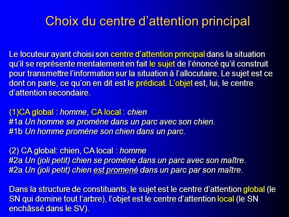 Choix du centre dattention principal Choix du centre dattention principal Le locuteur ayant choisi son centre dattention principal dans la situation q