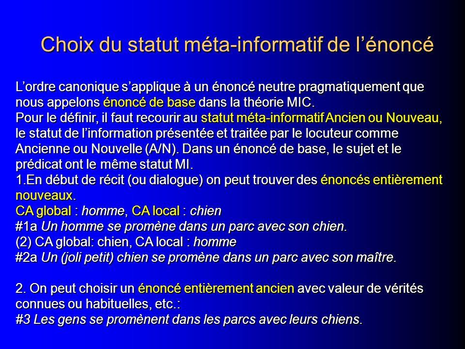 Choix du statut méta-informatif de lénoncé Choix du statut méta-informatif de lénoncé Lordre canonique sapplique à un énoncé neutre pragmatiquement qu