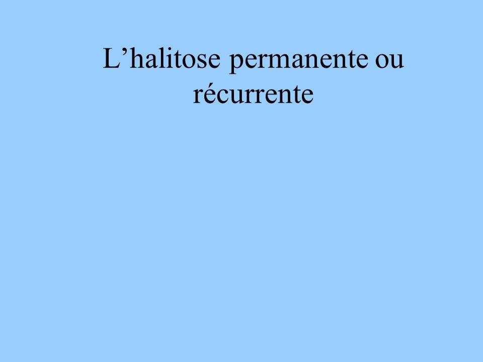 Halitose : CAT chez un patient sans anomalie dentaire Vérification objective de lhalitose