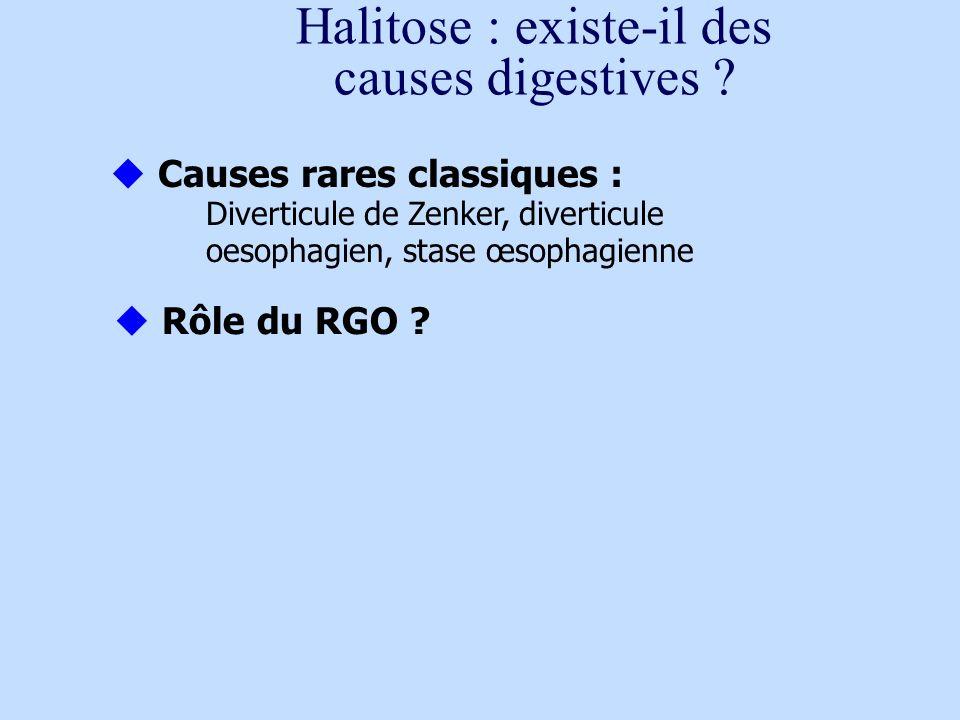 Halitose : existe-il des causes digestives ? Causes rares classiques : Diverticule de Zenker, diverticule oesophagien, stase œsophagienne Rôle du RGO