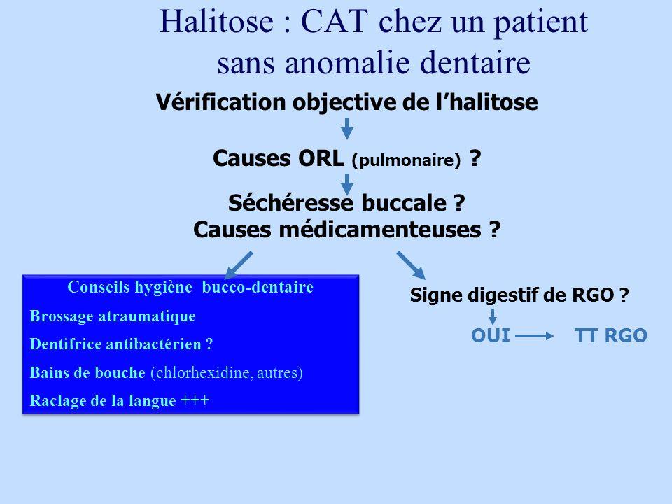 Causes ORL (pulmonaire) ? Vérification objective de lhalitose Séchéresse buccale ? Causes médicamenteuses ? Signe digestif de RGO ? Conseils hygiène b
