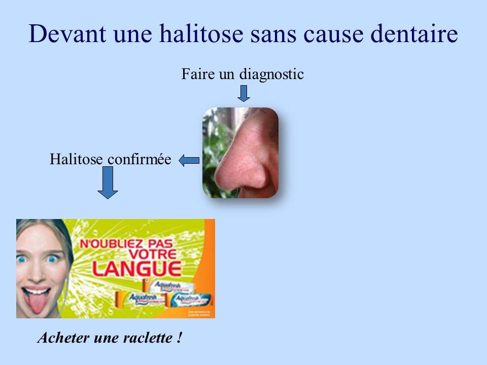 Devant une halitose sans cause dentaire Halitose confirmée Acheter une raclette ! Faire un diagnostic