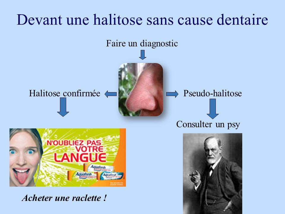 Devant une halitose sans cause dentaire Halitose confirméePseudo-halitose Acheter une raclette ! Consulter un psy Faire un diagnostic