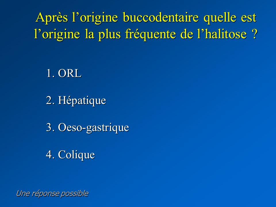 Après lorigine buccodentaire quelle est lorigine la plus fréquente de lhalitose ? 1. ORL 1. ORL 2. Hépatique 2. Hépatique 3. Oeso-gastrique 3. Oeso-ga